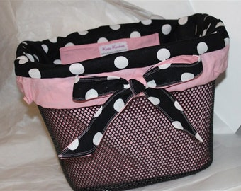 Bike Basket Liner Black White Polka dot With Pink trim  For Bell Baskets Ready to ship