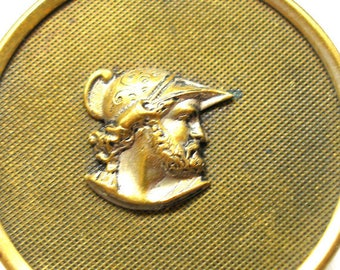 "Warrior Antique Button, Victorian Storybook, Greek Mythology 1.25"". Soldier Ajax."