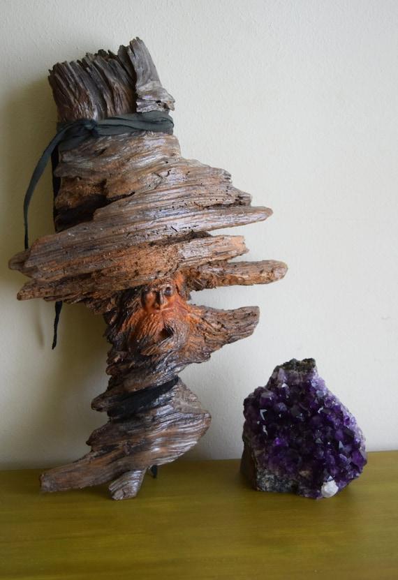 Vintage Hand Carved Wood Tree Spirit ~ Forest Dweller, Folk Art, Nature