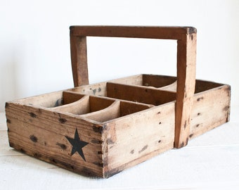 RARE Large Antique French Storage Wooden Box || Rustic Decor Tools Box - Vintage Country Chic Style - French Farmhouse Industrial Decor