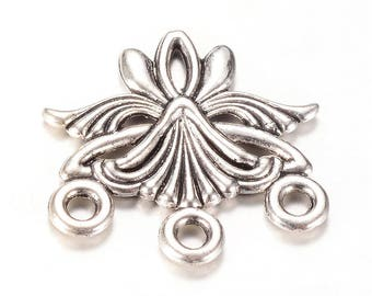 10 Antique Silver Chandelier Earring Connector/Link Findings 3 to 1 Hole 27x27mm (B253c)