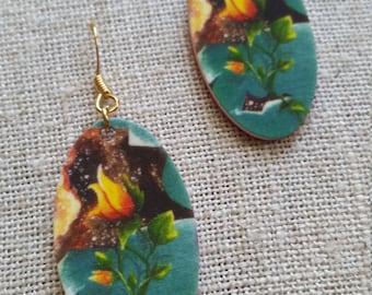 Orange Flower Bud Earrings