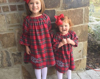 Red Plaid Flannel, Girls Winter dress, Christmas Dress, Fall dress, Red tartan plaid, babies, toddlers, girls coming home outfit