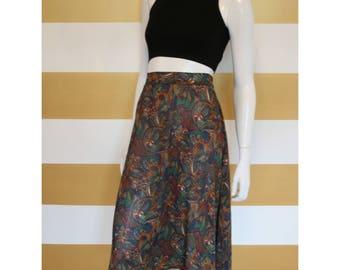 """Vintage 90s Skirt // Midi // High Waisted // Full Skirt // Filigree // Semi Sheer // W 27-31"""""""