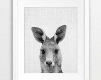 Kangaroo Print, Nursery Wall Art, Nursery Animal Decor, Black White Kangaroo Photography, Australian Animal Print, Kids Room Printable Art