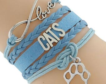 Love Cats Adjustable Wrap Bracelet