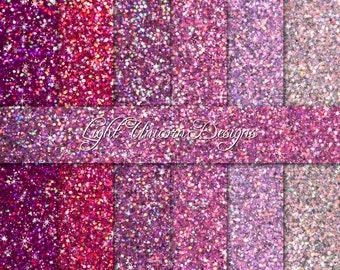 Pink Sparkling Glitter Digital Scrapbook Printable Paper