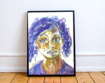 blue haired girl, fashion illustration, original art journal print, 8X11 art print, sketchbook project, global women, art for the soul