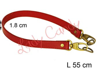 Bag style red 55 cm shoulder strap faux leather #330149 leather handle