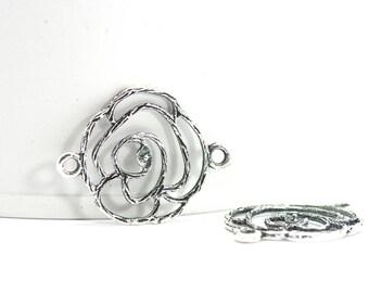 5 flower - Sun shape connectors. : 25 x 20 mm - antiqued silver color