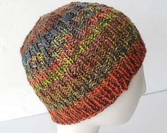 Hand Knit hat in Orange Autumn Mix – Adult One Size