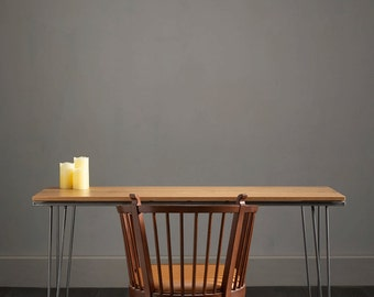 Solid Oak Hairpin Desk - Striking Design