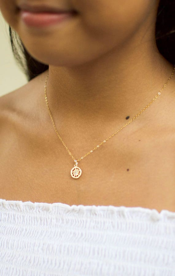 Dainty Sun Necklace | Sun Necklace in Gold | Sun Necklace Gold | You Are My Sunshine | Tiny Sun Necklace | Sun and Star Necklace | Gift
