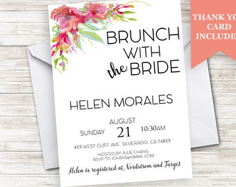Bridal Brunch Invite Bride Invitation 5x7 Digital Personalized Shower Party Floral Flower Watercolor
