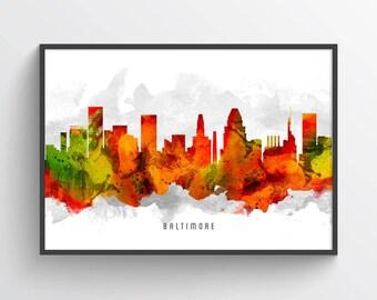 Baltimore Maryland Skyline Poster, Baltimore Cityscape, Baltimore Decor, Baltimore Art. Home Decor, Gift Idea, USMDBA15P