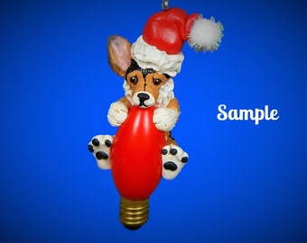 Tri Colored  Pembroke Welsh Corgi Santa Dog Christmas Holidays Light Bulb Ornament Sally's Bits of Clay PERSONALIZED FREE with dog's name