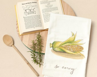 Corn - Food Pun Flour Sack Towel - Hand Lettered - Watercolor - Kitchen Towel - Gift - Cotton Tea Towel - Fruits & Veggies - Produce