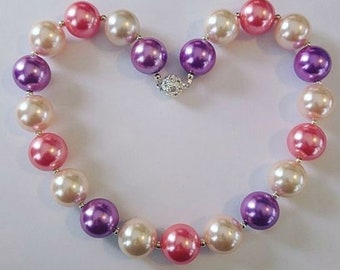 Chunky Bead Pearly Necklaces (pink/ivory/lavender)