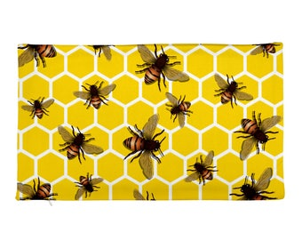 "All Over Bees on Honeycomb 20""x12"" Rectangular Pillow Case ONLY Home Decor Pillow Cover"
