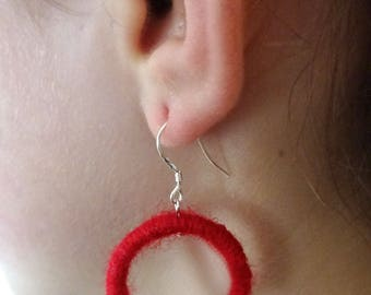 Red wool earrings.  Dangle earrings, Handmade earrings.  Hoop earrings. Valentine's day earrings. Love earrings. Silver earrings.