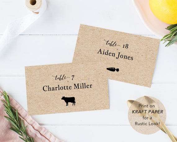 How To Distinguish Meal Choices On Place Cards Rsvp Card For A - Place cards with meal choice template