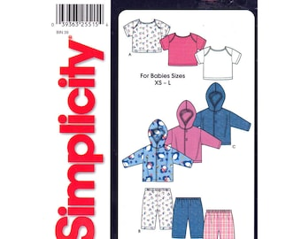Baby Sewing Pattern Hooded Jacket, Pullover Top, Pull-On Pants Simplicity 7054 T-Shirt Trousers Boys Girls Infant Size XS S M L Uncut