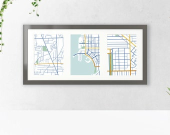 Custom Map Art  |  Meaningful Places Map Trio: Gold Style  |  Custom Map Prints, Printable Personalized Gift, Choose Your Location Maps