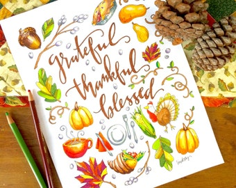 Thankful, Grateful, Blessed Coloring Page