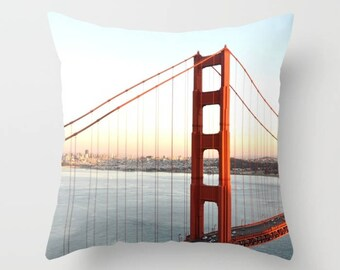 Golden Gate Bridge Pillow, San Francisco Image, Bay Area Print, Bridge Photography, Sunset Cushion Cover, California Boho Living Room Pillow