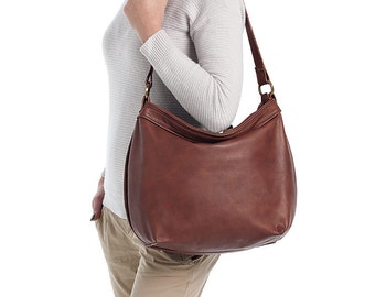 Brown leather hobo bag - Soft leather bag - Women leather bags - Slouchy hobo purse -  LARGE HELEN