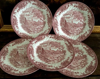 Vintage Beautiful Set of 5 Churchill Brook English Cottage Dinner  Plates/Pink Transferware