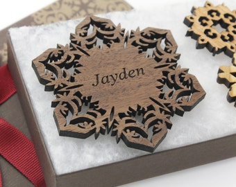 Personalized Ornament - Christmas Snowflake Gift Box Set - Custom Engraved Wood Snowflake - Walnut - Made in the U.S.A. Jayden