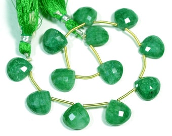 7.5 Inches Strand Natural Green Quartz Beads 12mm Heart Beads Faceted Gemstone Briolettes Quartz Gems Semi Precious Stone No 373