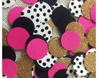 Kate Spade Inspired Confetti, Kate Spade Inspired Bridal Confetti, Kate Spade Inspired Baby Shower, Black, Pink, and Gold Confetti, Birthday