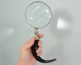 Vintage Black Horn Magnifying Glass - Curved Handle, Unsigned - Mid Century Office, Study, Library Accessory