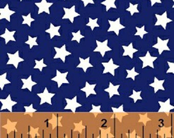 Windham Basic Brights - Stars in Navy Blue / White - American Bright Basics Cotton Quilt Fabric Star - Windham Fabrics - 31641-2 (W3650)