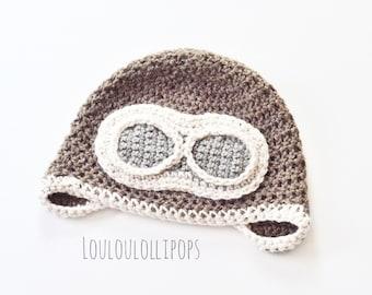 Crochet Aviator Hat | pilot hat, airplane hat, aviator gifts, airplane gifts, airplane birthday party, pilot costume, aviator costume
