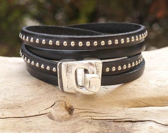 Black leather strap and silver beads - silver hook clasp - women Leather Bracelet