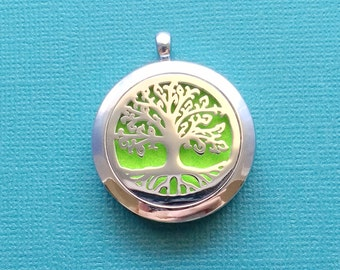 1 Essential Oil Diffuser Locket Stainless Steel Tree of Life Aromatherapy Diffuser Locket - SSODL2939