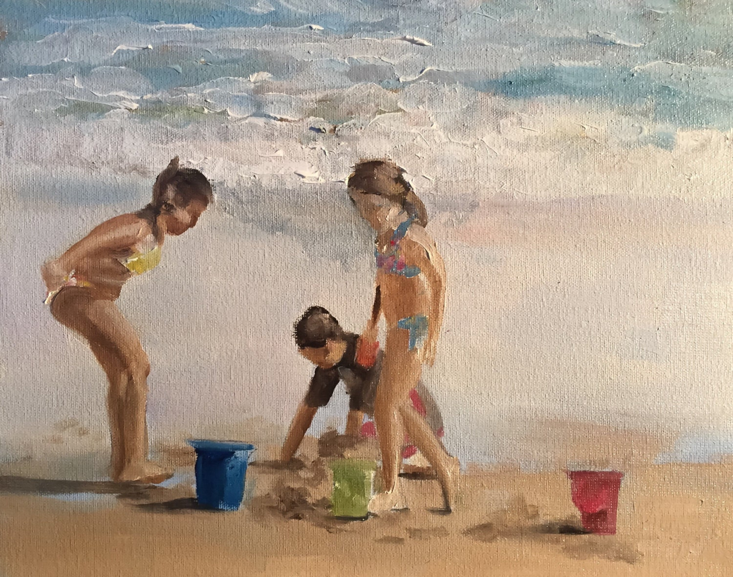 Kids Beach Painting Children Art PRINT Fun