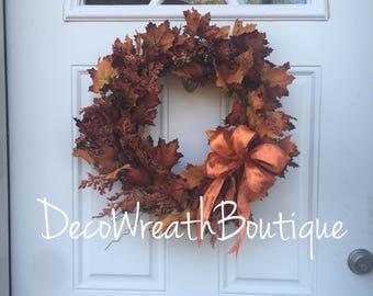 Fall wreaths for front door, Fall door wreath, Autumn wreath, Harvest wreath, Fall leaf wreath