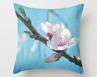 Spring cherry blossom accent pillow home decor cushion, bedroom flower photo pillow, sky blue art, blue spring cushion, cherry blossom photo