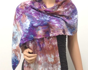 Scarf Bamboo Hand Dyed Ice Soft Multicolored Colorful Elegant Lightweight Spring Purple Brown Blue Bronze Cream Grape Lilac White Unusual
