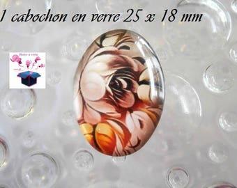 1 cabochon glass 25mm x 18mm theme Polish