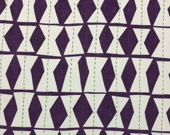 """RICHLOOM KLEE VIOLET Purple Ivory Geometric Diamond Pillow Craft Drapery Tote Bags Upholstery Multiuse Fabric By The Yard 54""""Wide #D3009"""