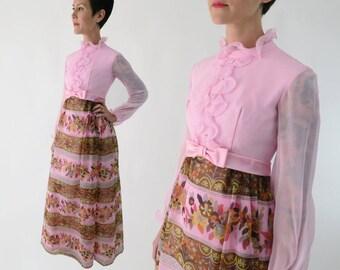 1960s Pink Chiffon Maxi Dress / Vintage 60s Empire Waist Pink Formal XS