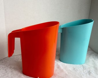 Vintage Plastic Orange and Blue Spoutless Pitchers / Camping and Picnic Supplies