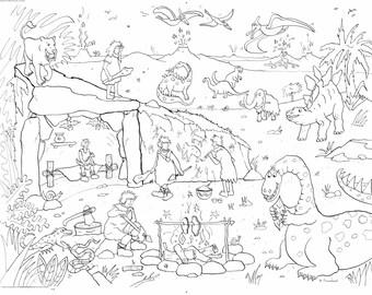 Dinosaur Cavemen Colouring Poster
