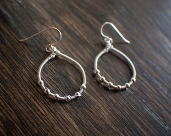 Sterling Silver Beads & Wire Wrap Teardrop Hoop Dangle Earrings