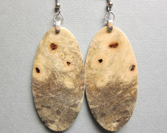 Buckeye Burl Exotic Wood Large Long Earrings repurposed ecofriendly Handcrafted ExoticWoodJewelryAnd
